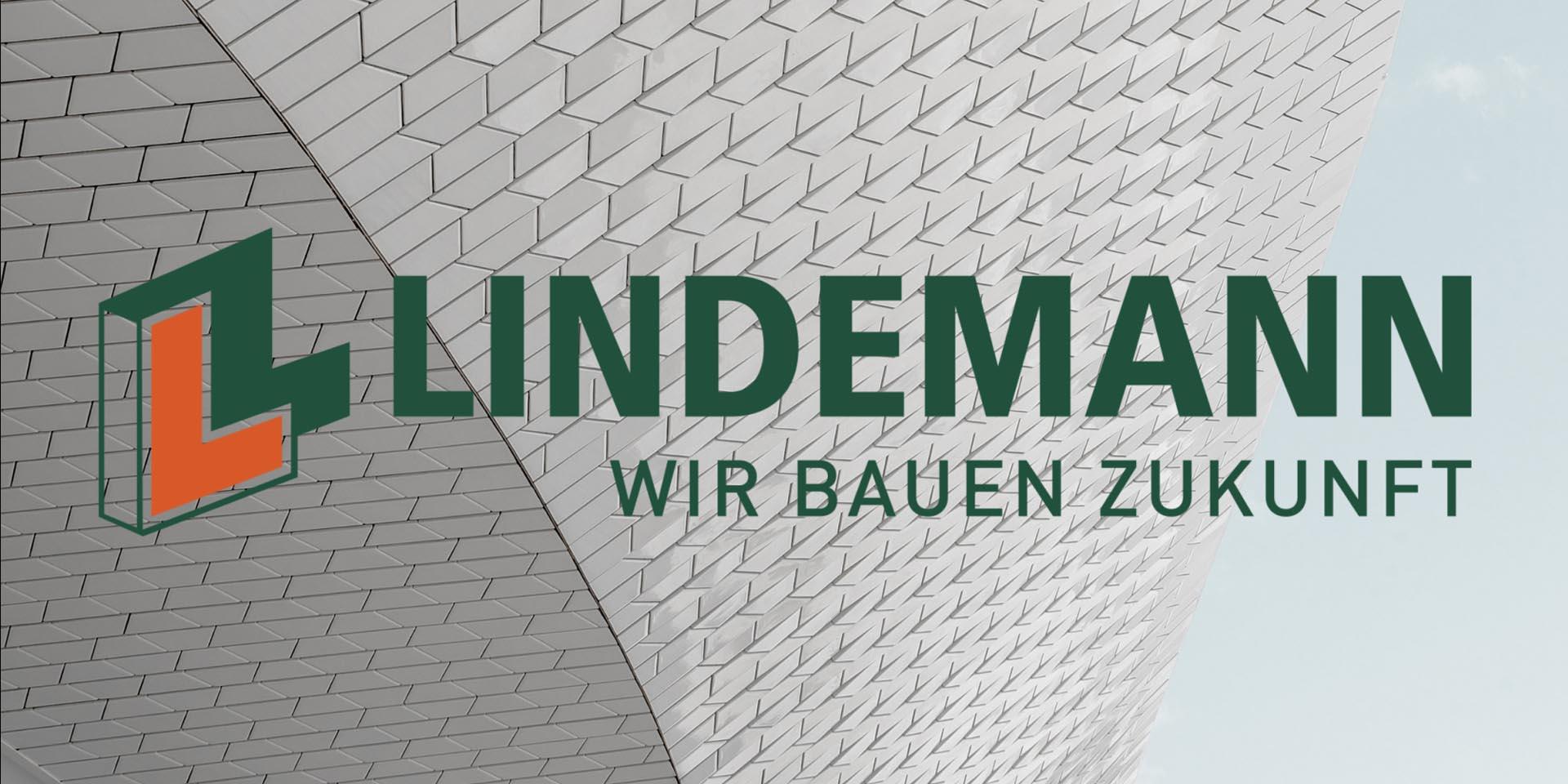 Logo der Lindemann Gruppe mit dem Slogan WIR BAUEN ZUKUNFT