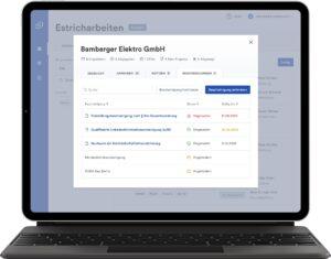 Screenshot der Cosuno Software, in dem Bescheinigungen verwaltet und hochgeladen werden können