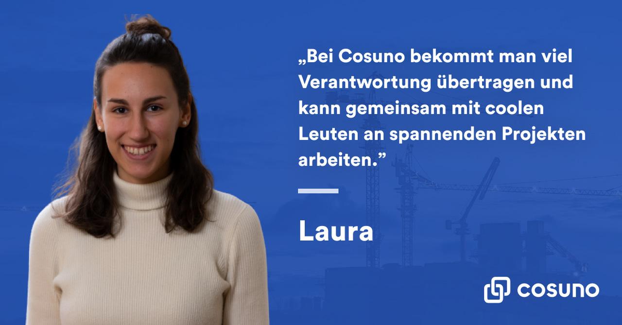 Conterfeit von Laura auf blauem Untergrund mit weißem Zitat daneben